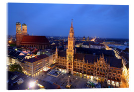 Quadro em acrílico  Church of our Lady and the new town hall in Munich at night - Buellom