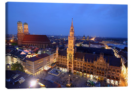 Quadro em tela  Church of our Lady and the new town hall in Munich at night - Buellom