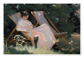 Póster Premium Roses. Marie Krøyer seated in the deckchair in the garden by Mrs Bendsen's house, detail