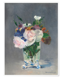 Póster Premium  Flowers in a Crystal Vase - Edouard Manet