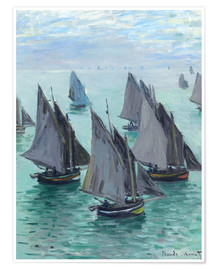 Póster Premium  Fishing boats in calm weather - Claude Monet