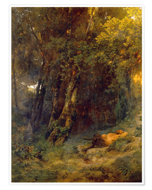Póster Premium Forest landscape with resting pan