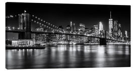 Quadro em tela  Night Skylines NEW YORK II black and white - Melanie Viola