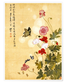 Póster Premium  Poppies and Butterflies - Ma Yuanyu