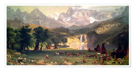 Póster Premium  Indian camp in the Rockies - Albert Bierstadt