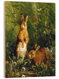 Quadro de madeira  Rabbits in a meadow - Olaf August Hermansen