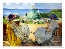 Póster Premium Two women on a terrace by the sea