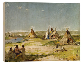 Quadro de madeira  Camp of the Indians in Wyoming - Frank Buchser