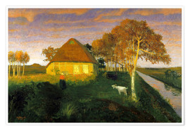 Póster Premium  Moor cottage in the evening sun - Otto Modersohn