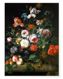 Póster Premium Still life with flowers and fruits