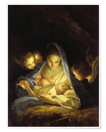 Póster Premium Mary with the Christ child bent over the crib