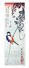 Póster Premium  Swallow sitting on a branch of a wisteria - Utagawa Hiroshige