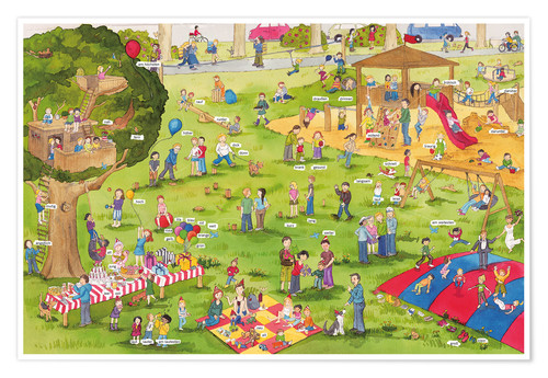 Póster Premium Learn and laugh, hidden object: on the playground (German)