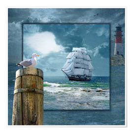 Póster Premium  Collage With Sailing Ship - Monika Jüngling