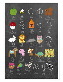 Póster Premium  Learn abc on chalkboard - GreenNest