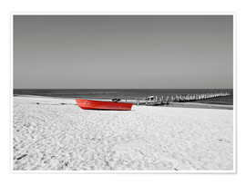 Póster Premium Red boat on the beach