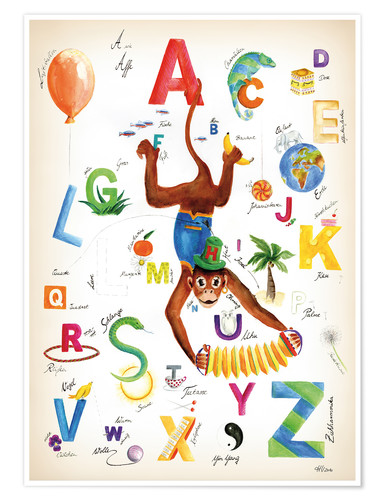 Póster Premium ABC Alphabet animals, colours and more