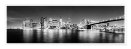 Póster Premium  New York City skyline by night (Monochrome) - Sascha Kilmer