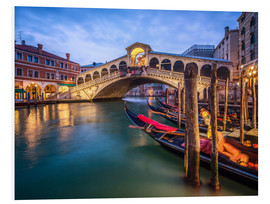 Quadro em PVC  Rialto Bridge in Venice Italy at night - Jan Christopher Becke