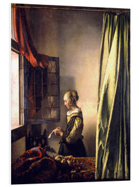 Quadro em PVC  Girl reading a letter at an open window - Jan Vermeer