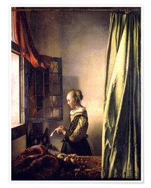 Póster Premium Girl reading a letter at an open window