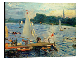 Quadro em alumínio  Sailboats on the Alster Lake in the evening - Max Slevogt