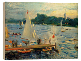Quadro de madeira  Sailboats on the Alster Lake in the evening - Max Slevogt