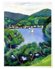 Póster Premium  View of Tegernsee lake - August Macke