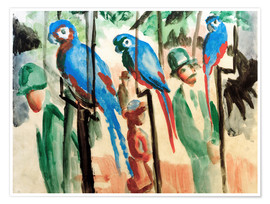 Póster Premium  Among the parrots - August Macke