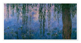 Póster Premium Lily pond with Weeping Willow