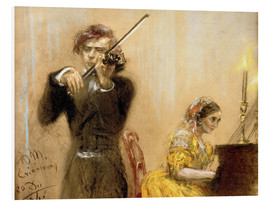 Quadro em PVC  Clara Schumann and Joseph Joachim playing music - Adolph von Menzel