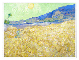 Póster Premium  Wheat Field with Reaper at sunrise - Vincent van Gogh