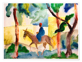 Póster Premium  Man Riding on a Donkey - August Macke