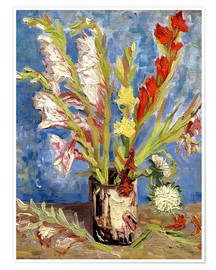 Póster Premium Vase with gladioli and China asters