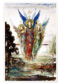 Póster Premium  Job and the Angels - Gustave Moreau