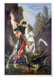 Póster Premium  St. George and the Dragon - Gustave Moreau