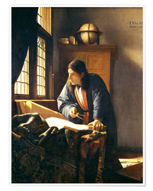 Póster Premium  A geographer or astronomer in his study - Jan Vermeer