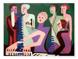 Póster Premium  Cantor ao piano - Ernst Ludwig Kirchner