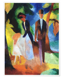 Póster Premium  People at the blue lake - August Macke
