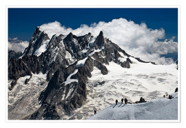 Póster Premium  Mont Blanc Massif and mountaineer, France - Frauke Scholz