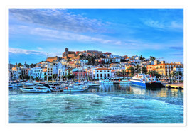 Póster Premium View of the old port of Ibiza