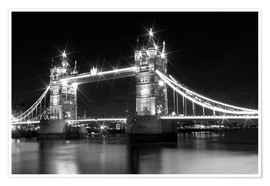 Póster Premium  Tower Bridge by Night sw - Melanie Viola