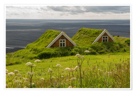 Póster Premium  Traditional Houses in the Skaftafell National Park, Iceland - Markus Ulrich