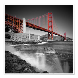 Póster Premium  Golden Gate Bridge Fort Point - Melanie Viola