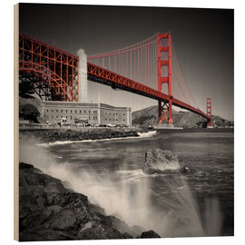 Quadro de madeira  Golden Gate Bridge Fort Point - Melanie Viola