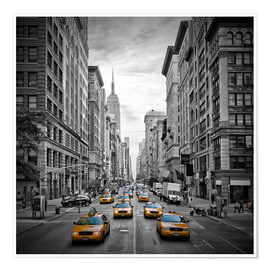 Póster Premium NEW YORK CITY 5th Avenue Traffic