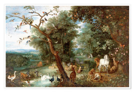 Póster Premium The Garden of Eden with Adam and Eve