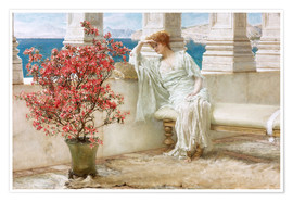 Póster Premium  Her eyes are with her thoughts and they are far away - Lawrence Alma-Tadema