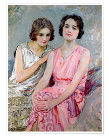 Póster Premium Two Young Women Seated