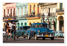 Póster Premium  classic us cars in havanna, cuba - Peter Schickert